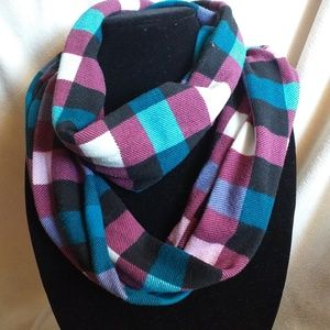 Blue, purple, and teal plaid infinity scarf!